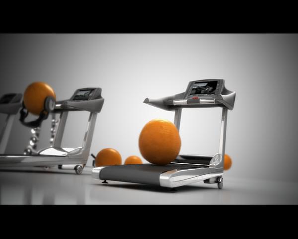 ランニングマシーンとオレンジのCGアニメーション